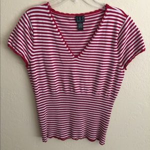 INC striped short sleeved sweater top.